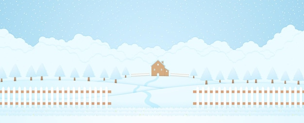 Winter landscape house and trees on hill with snow falling grass and fence cloud background