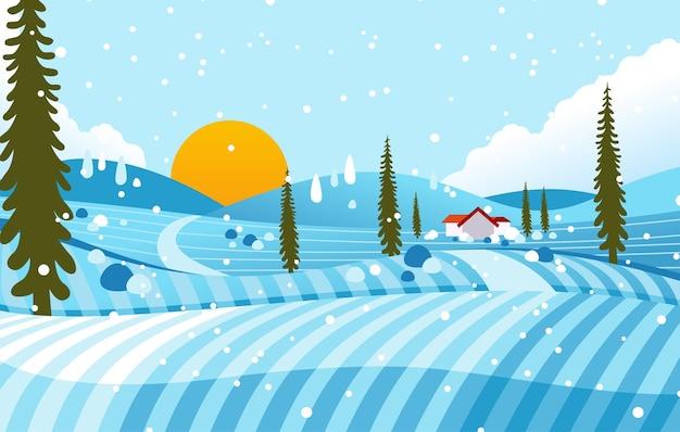 家、木と雪が降っている田舎の冬の風景イラスト。