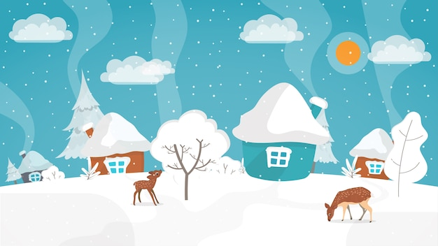 フラットスタイルの冬の風景。テキストのための場所で冬のイラスト。