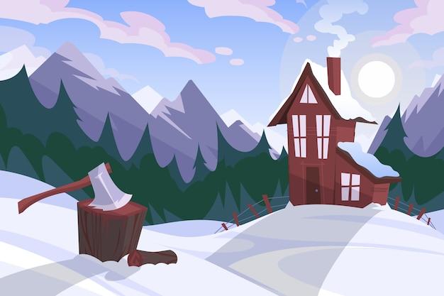 Зимний пейзаж в плоском дизайне