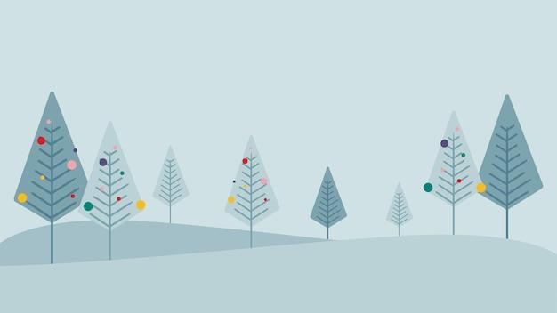 평면 스타일, 눈 덮인 크리스마스 트리, 벡터 일러스트 레이 션, 휴가 시즌 환경 12 월의 겨울 풍경