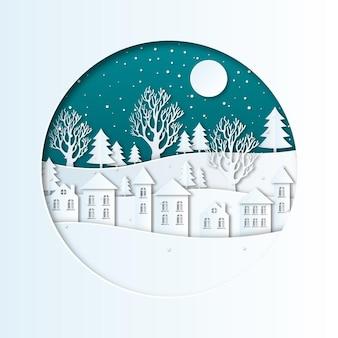 Зимний пейзаж в бумажном стиле со снегом