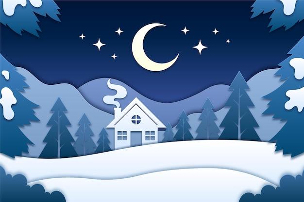 종이 스타일의 겨울 풍경