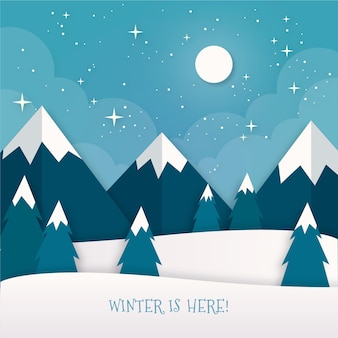 紙のスタイルの冬の風景
