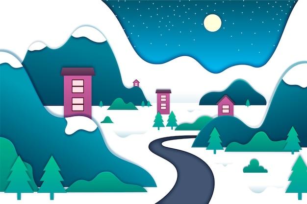Зимний пейзаж в бумажном стиле