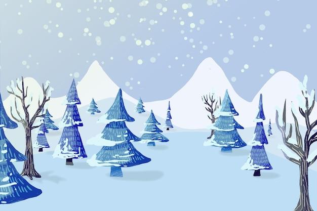 水彩背景の冬の風景