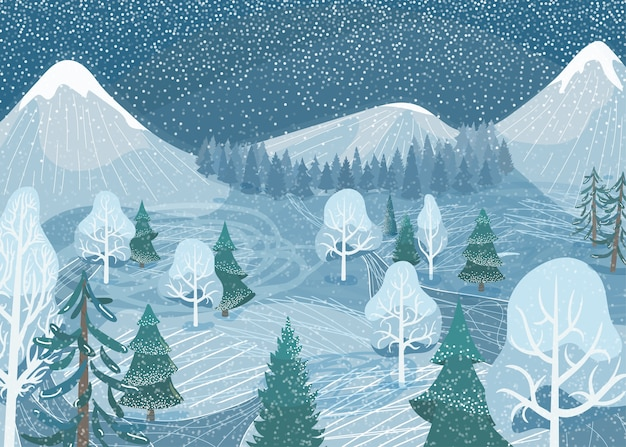 Winter landscape. nature mountain forest snowy scene with fir tree, road, spruce, pine. north outdoor snow scenery.