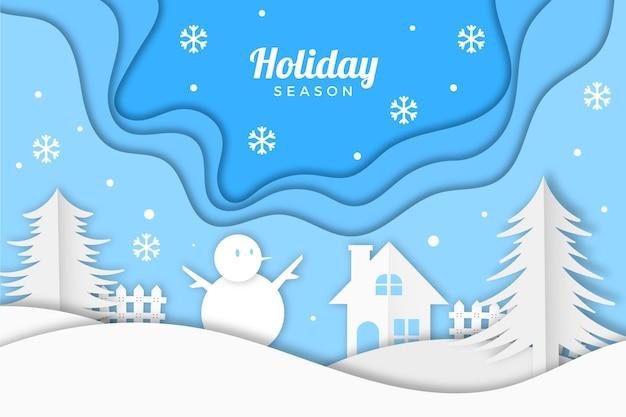 Winter landscape in paper style wallpaper