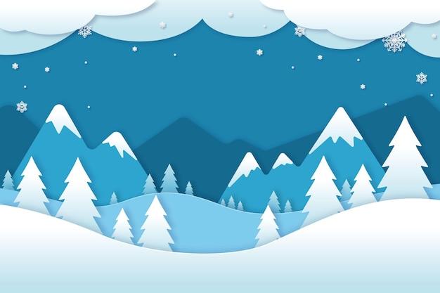 Paesaggio invernale in stile carta