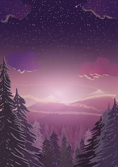 冬の風景。松の森、雪山、背景のcopyspaceと日没の図