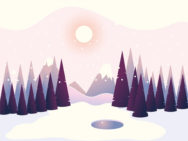Winter landscape pine trees forest mountains sky illustration