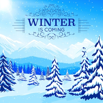 Winter landscape poster with snowbound trees and mountains in flat style