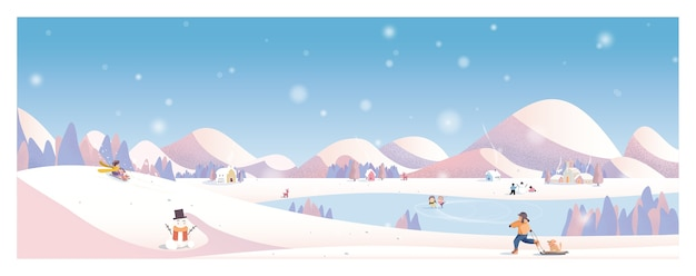 冬の風景。田舎の村。外で遊ぶ子供たち。