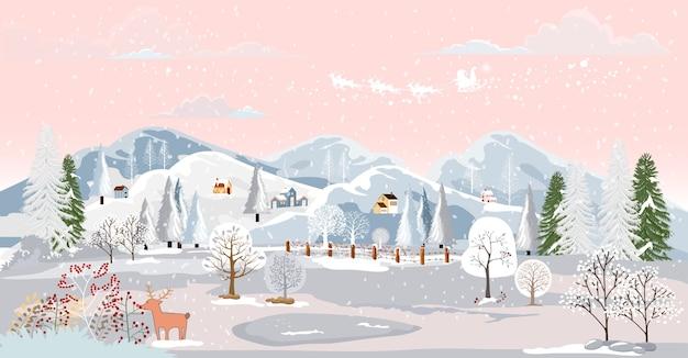Winter landscape scene at small village.