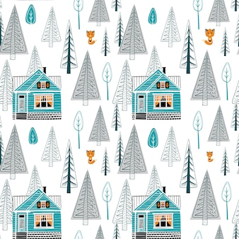 Winter landscape seamless pattern with pretty red house and forest on white background