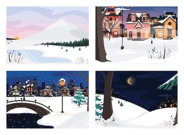 겨울 풍경 세트입니다. 도시와 숲 풍경입니다. 아름다운 집들
