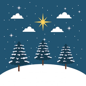 Winter landscape snow tree star clouds night