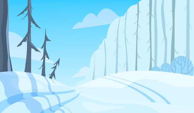 Winter landscape. snow on the tree, white and blue color season. beauty in nature, december scenery.  illustration in cartoon style