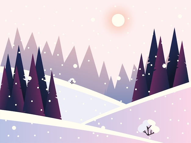 Winter landscape snowfall pine forest and hills illustration