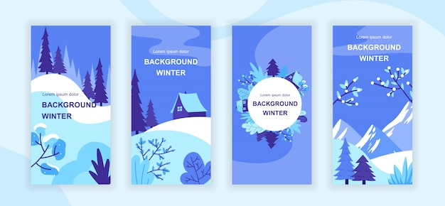 Winter landscape social media stories templates set