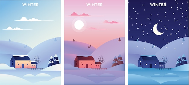 Winter landscape at sunrise, sunset and night
