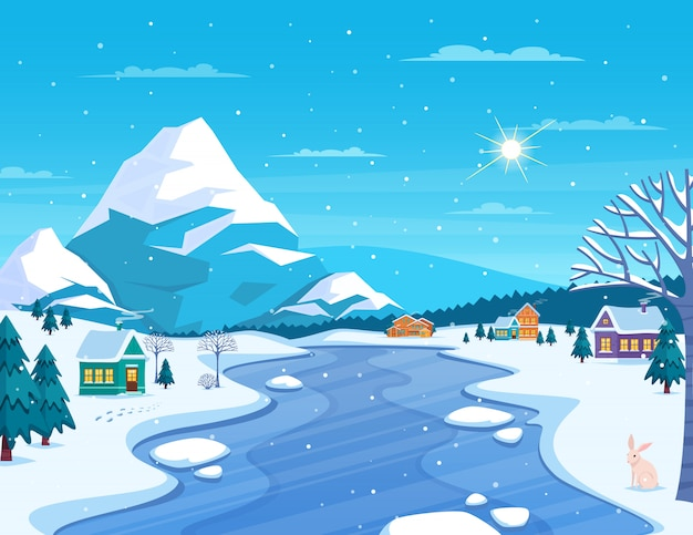 Winter landscape and town illustration