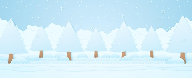 Winter landscape, trees on grass in garden, snow falling with snowflakes, paper art style