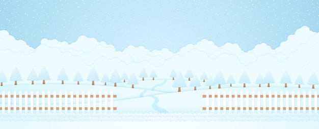 Winter landscape, trees on hill and snow falling, grass and fence, paper art style