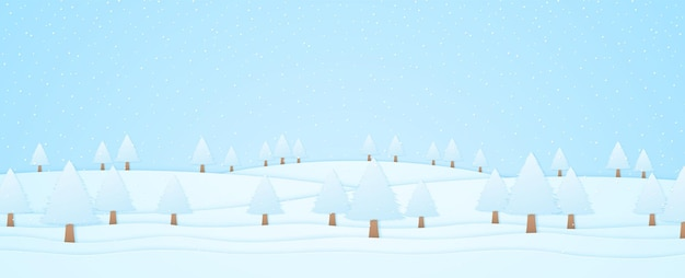Winter landscape, trees on hill and snow falling, paper art style