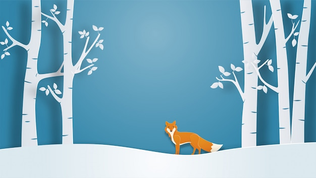 Winter landscape view background with lonely fox in paper cut style.