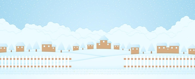 Winter landscape village or housetrees on hill with snow falling grass and fencecloud background