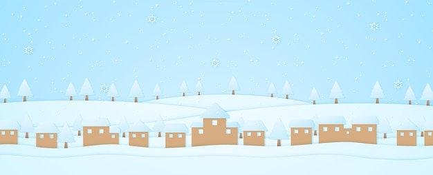 Winter landscape, village and trees on hill with snow falling and snowflake, paper art style
