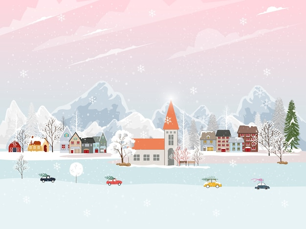 Winter landscape in village with cute cartoon of fairies house
