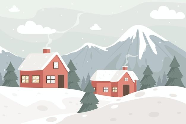 Winter landscape in vintage colors