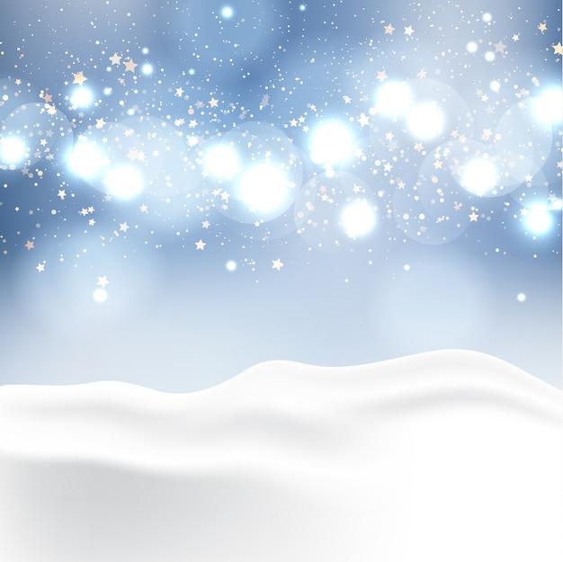 Winter landscape with bokeh lights