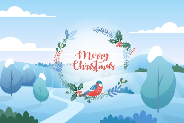 Winter landscape with christmas greetings. flat cartoon style. merry christmas and happy new year.