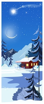 Winter landscape with cottage, shooting star and fir-trees