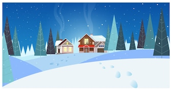 Winter landscape with cottages and fir-trees illustration
