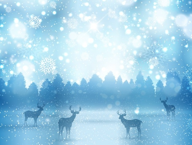 鹿と冬の風景
