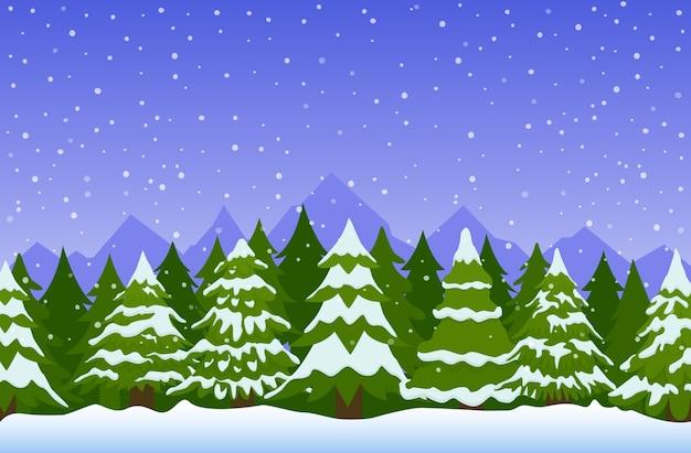 Зимний пейзаж с елями в снегу.