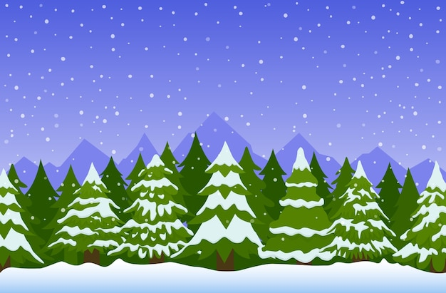 Winter landscape with fir trees in snow.