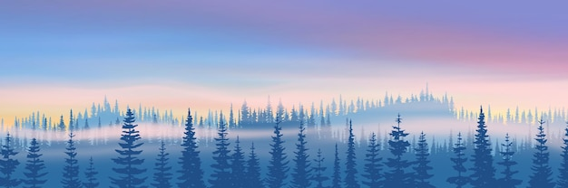 Winter landscape with forest and sunset sky