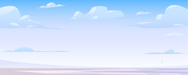 凍った湖と雲のある冬景色