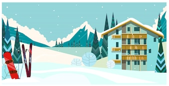 Winter landscape with guest house, skis and snowboard