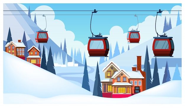 Winter landscape with guest houses and ski cable cars