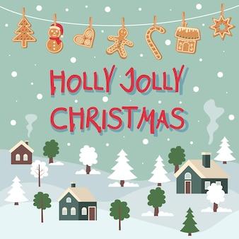 Зимний пейзаж с висящими пряниками, прикрепленными прищепками holly jolly christmas