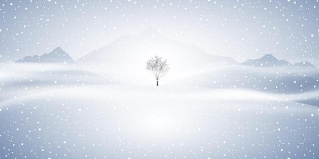 丘と孤独な木と冬の風景