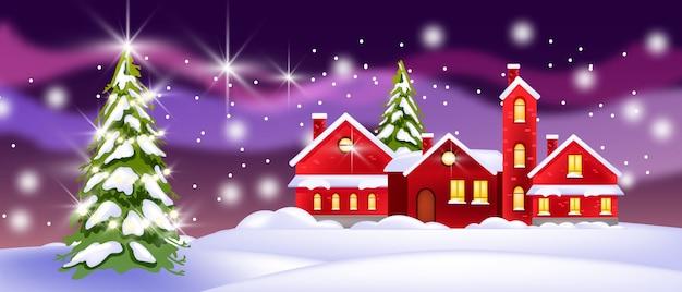 別荘、クリスマスツリー、雪片のある冬の風景。北の背景