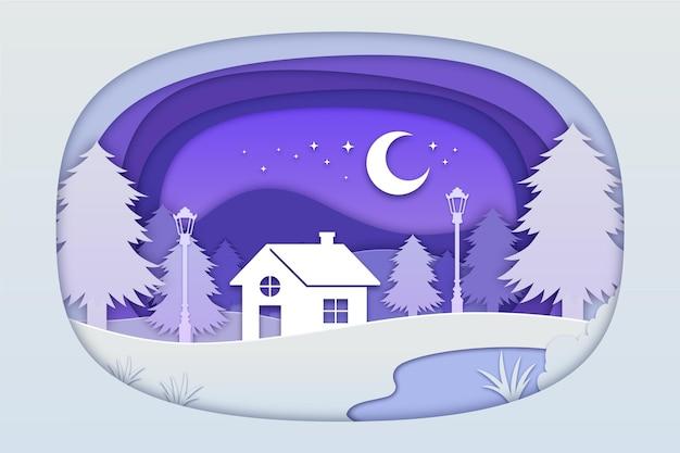 Paesaggio invernale con casa in stile carta