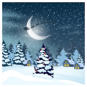 Winter landscape with houses, santa claus in night sky